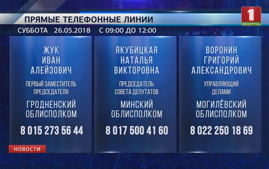 В Минске и областях продолжают работу прямые телефонные линии У Мінску і абласцях працягваюць работу прамыя тэлефонныя лініі