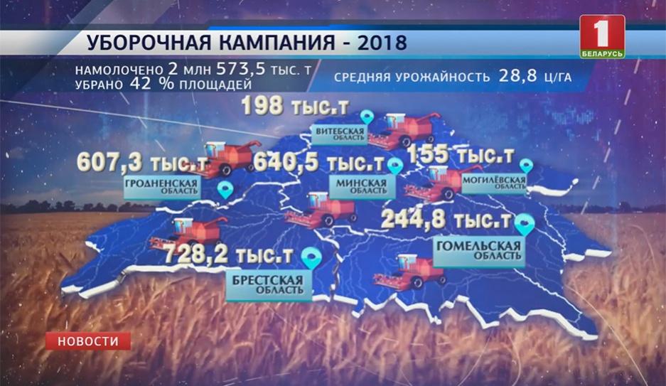 В Беларуси убрано более 40 % зерна нового урожая У Беларусі ўбрана больш за 40 % збожжа новага ўраджаю