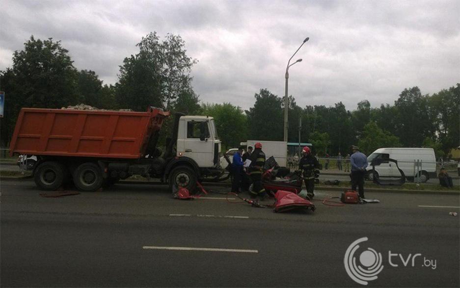 Авария на Партизанском проспекте в Минске