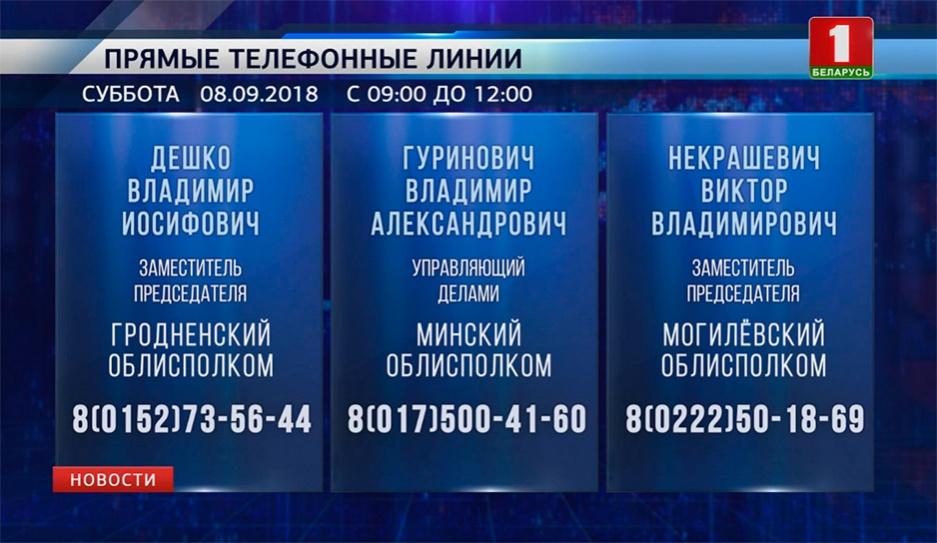 Прямые телефонные линии пройдут в субботу с 9 до полудня Прамыя тэлефонныя лініі пройдуць у суботу з 9 да паўдня