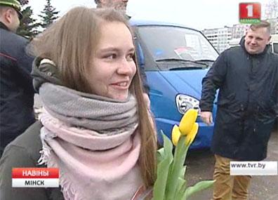 Весенние букеты получили сегодня  женщины-водители Вясновыя букеты  атрымалі сёння  жанчыны-вадзіцелі