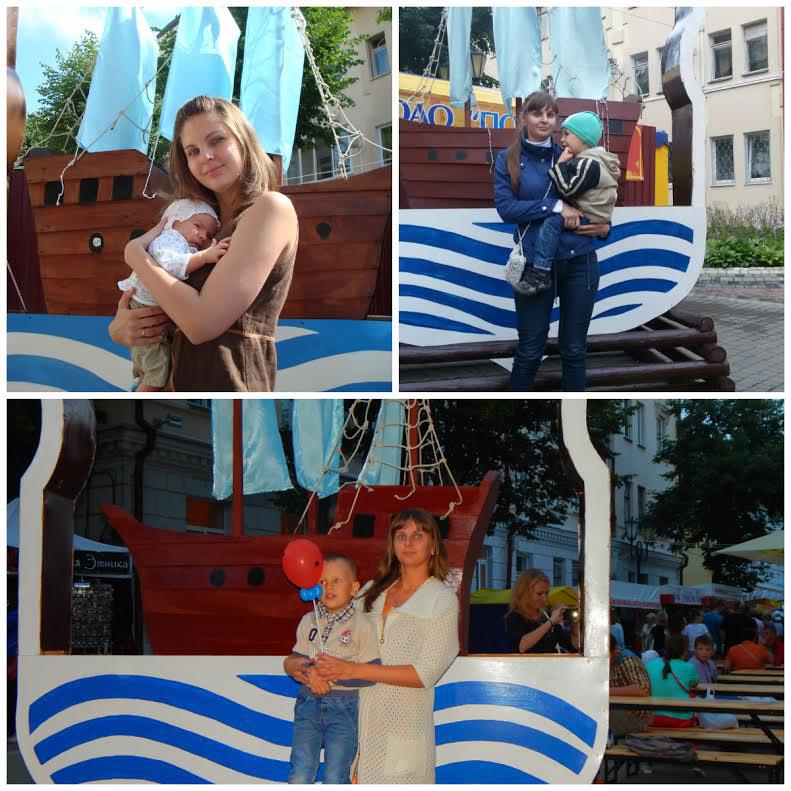"""Кира Огурцова: """" Каждый год фотографируемся с сыном на фоне корабля, который ежегодно находится на подворье г. Полоцка, начиная с 2012 года. Пропустили только один год, но надеемся больше не прерывать эту традицию""""."""