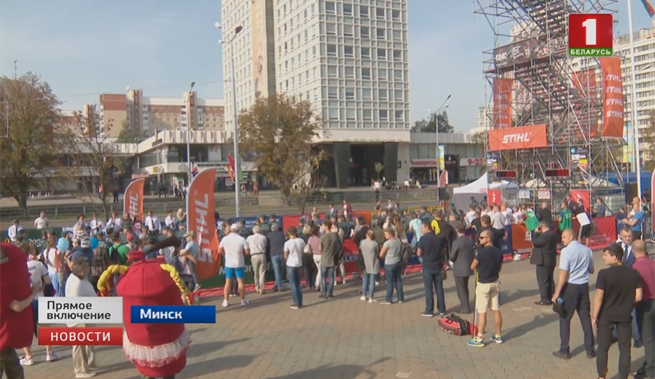 Зрелищный спортивный фестиваль проходит возле Дворца спорта Відовішчны спартыўны фестываль праходзіць каля Палаца спорту