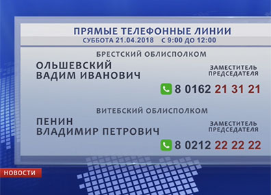 В  Минске и областях продолжают работу прямые телефонные линии У Мінску і абласцях працягваюць працаваць прамыя тэлефонныя лініі