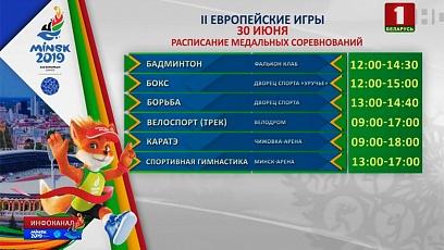 Завтра на II Европейских играх будет разыграно 36 комплектов наград