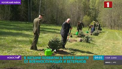 В Хатыни появилась аллея памяти от военнослужащих и ветеранов