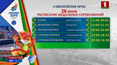 12 sets of medals to be played in five sports at 2nd European Games today