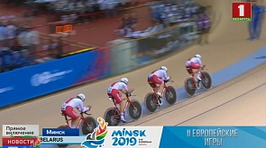 Состязания на велодроме. Спортсмены борются за медали в командном преследовании  Спаборніцтвы на веладроме. Беларусы спарстмены за медалі ў камандным праследаванні