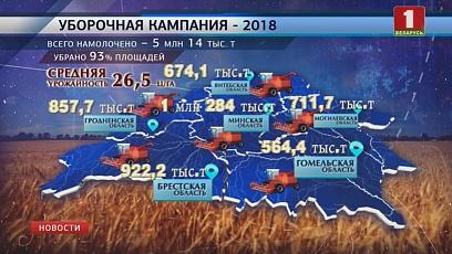 Массовая жатва - 2018  практически завершена. 5  миллионов тонн хлеба  удалось собрать в Беларуси