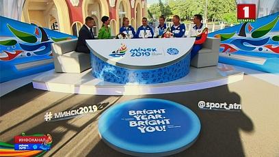 В студии медалисты II Европейских игр по гребле на байдарках и каноэ и тренер женской команды