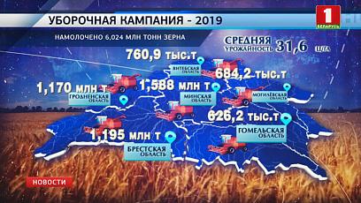 6 024 000 тонн зерна нового урожая собрали белорусские аграрии